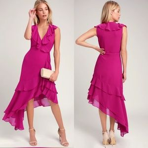 Lulu's magenta asymmetrical ruffle dress